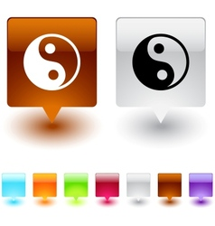 yinyang square button vector image vector image