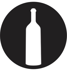 A bottle of wine and a glass icon vector image