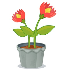 A pot of plant with flower vector