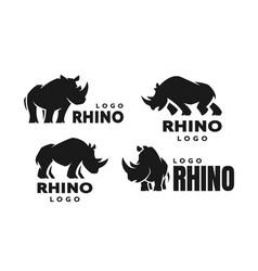 African rhino silhouette set logos vector