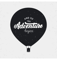 And so the adventure begins card Hand written vector image