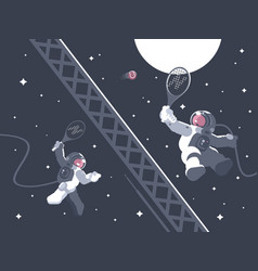 Astronauts playing tennis in outer space vector