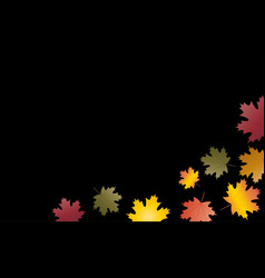 autumn leaves background black vector image