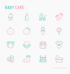baby care thin line icons set vector image