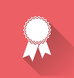 badge with ribbon icon in flat style on red vector image