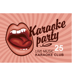 banner for karaoke party with singing mouth vector image