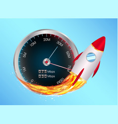 Boost internet speed meter with toy rocket vector