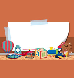 Border template with many toys on floor vector