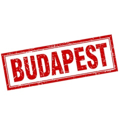 Budapest red square grunge stamp on white vector