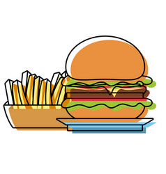 burguer and french fries vector image