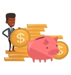 Businessman putting coin in piggy bank vector
