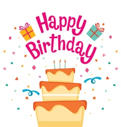 Cake With Happy Birthday Letter vector image