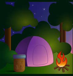 camping in forest-1 vector image