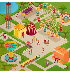 Circus amusement park isometric vector