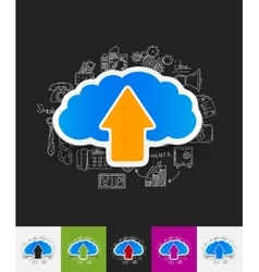 Cloud paper sticker with hand drawn elements vector