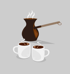 Coffe pot with two cups of black hot coffee vector