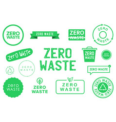 Collection zero waste various badges symbols vector