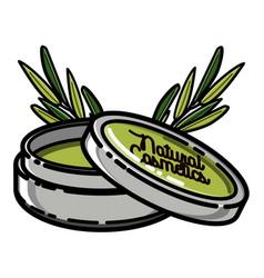 Color vintage natural cosmetics emblem vector