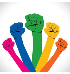 Colorful every hand support and show the unity vector