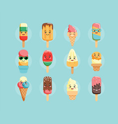 Cute kawaii ice cream characters collection of vector