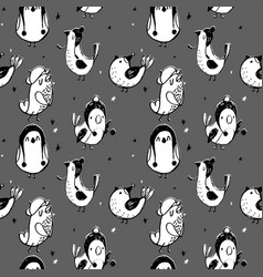 cute seamless pattern with cartoon bird black an vector image