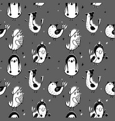 cute seamless pattern with cartoon bird black vector image