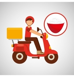 delivery boy ride motorcycle japanese rice vector image