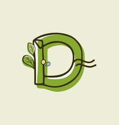 Eco style letter d logo hand-drawn with a marker vector