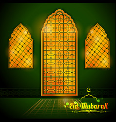 Eid mubarak happy eid greetings with arabic vector