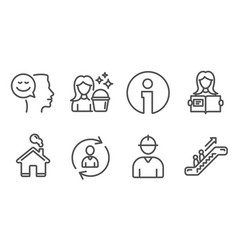 Engineer cleaning and person info icons woman vector