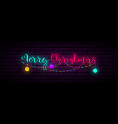 festive neon banner with inscription merry vector image