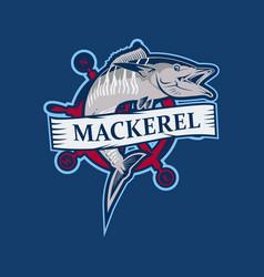 Fish mackerel logo emblem vector