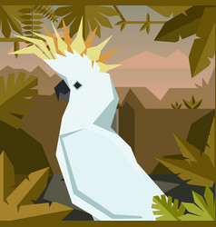 Flat geometric jungle background with cockatoo vector