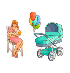 flat girl sitting at chair with infant baby vector image vector image
