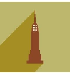 Flat icon with long shadow american skyscraper vector