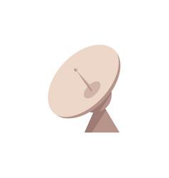 Flat satellite radar dish with antenna icon vector