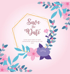 flowers wedding save date geometric frame vector image