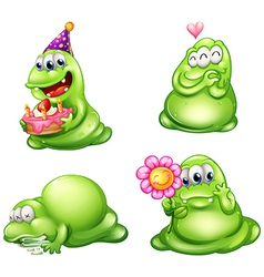 Four green monsters with different activities vector
