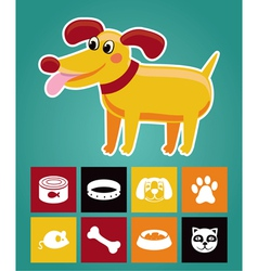 Funny cartoon dog and icons vector image vector image
