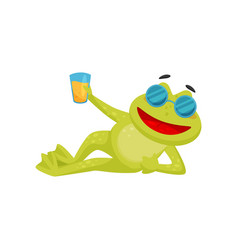 funny frog in sunglasses lying isolated on white vector image