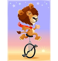 Funny lion on a monocycle vector image