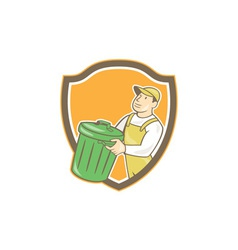 Garbage Collector Carrying Bin Shield Cartoon vector image