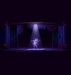 Ghost ballerina dance on old theater stage vector