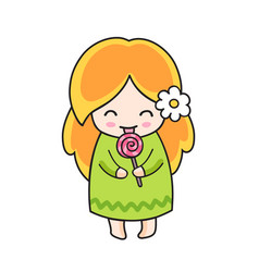 ginger girl with lollipop cute little cartoon vector image