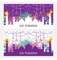 Greeting card for muslim festival eid mubarak vector