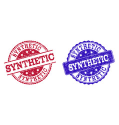 Grunge scratched synthetic seal stamps vector
