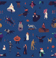 halloween characters flat seamless pattern vector image