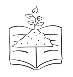 Hand draw book and plant vector