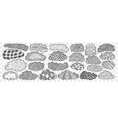 hand drawn clouds doodle set vector image