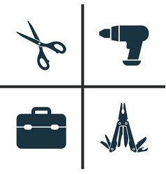 handtools icons set collection of shears vector image
